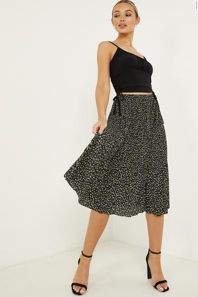 Black Floral Pleated Midi Skirt